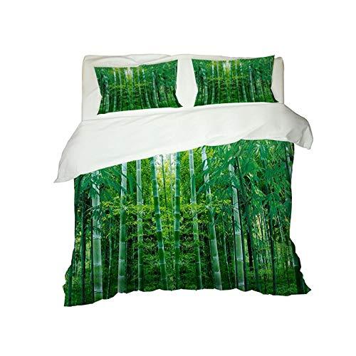 JCKSimpleLife Copripiumino 3 Pezzi Set da Letto Copripiumino Set,Include 1 Copripiumino Lenzuolo 2 Federe.3D Foresta di Bamboo 140X200Cm
