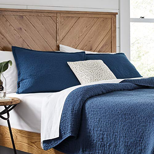 Amazon Brand  Stone & Beam Locklar 100% Cotton Lightweight Textured Full / Queen Coverlet Set, Easy Care, 90 x 90, Navy