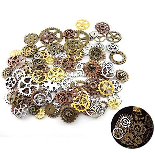 ZHANChen Zahnrad Steampunk Metall Antik Basteln Vintage für Schmuck Basteln Kostüm (Gold Silber Kupfer Bronze) 100 Gramm