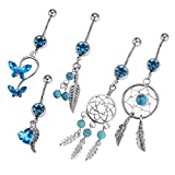 Bonarty Anillo de Ombligo de Mariposa de Corazón de Atrapasueños de Cristal de Diamantes de Imitación Azul de 5 Piezas