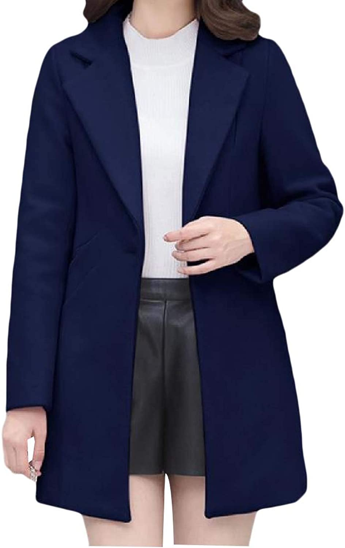 TaoNice Women One Button TurnDown Collar Woolen Warm Fashional Wrap Coat