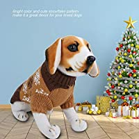 犬のセーター、小型犬のセーター、雪片印刷されたクリスマスの服ニットのセーター子犬のセーターのために柔らかくて丈夫(brown, L)