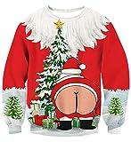 Idgreatim Femmes Drôle 3D Imprimé Père Noël À Manches Longues Tricots Sweatshirts Pull pour Noël M