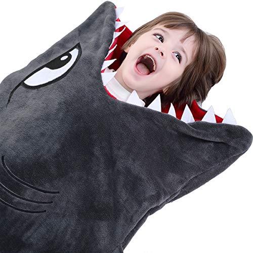 CozyBomB Hai-Decke für Kinder - Glattes Einteiler-Kuschel-Design - Robustes nahtloses Kuscheln - Plüschwurf - Vergrößerte Größe Grauer Schlafsack mit Flosse - Geburtstag für Jungen und Mädchen