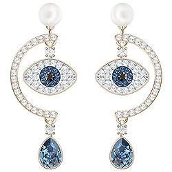 Duo Evil Eye White Crystal Pierced Earring