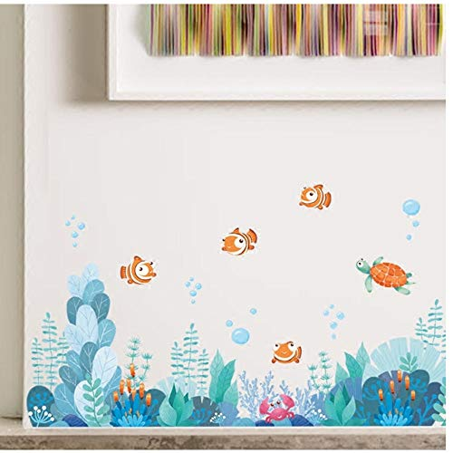Annqing zeebodem koraalwereld vis cartoon muursticker badkamer glas tegels sticker kinderkamer plint taille sticker