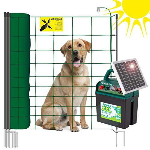 VOSS.PET Hundezaun Set, 50m Elektrozaun Weidezaun Elektronetz Hunde-Set mobil, Einzäunung im Garten, Weidezaungerät Power XXL B 9.000-S, 108cm 14 Pfähle 2 Spitzen grün