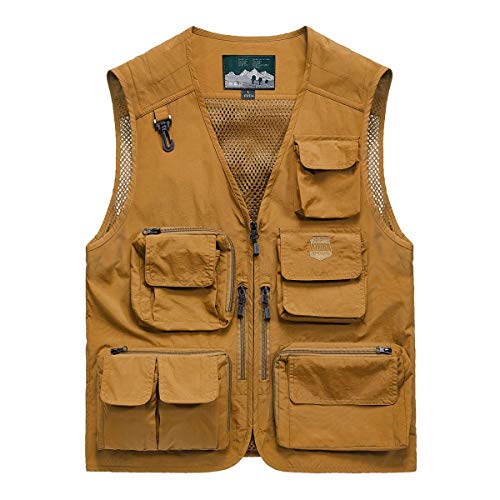 YDSH Mens Multi Pocket Vest Outdoor Fishing Camping Outwear Breathable Mesh Casual Waistcoat With Multiple Pockets M 5XL