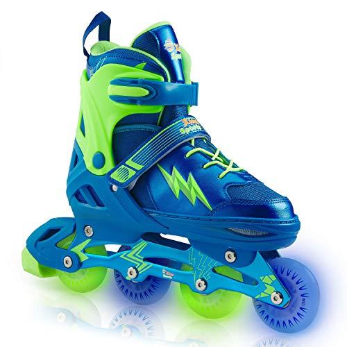 Xino Sports Adjustable Inline Skates - for Growing Girls and Boys, Featuring Illuminating LED Wheels, Size Medium (1-4)