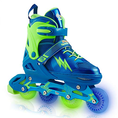 Xino Sports Adjustable Inline Skates - for Growing Girls and Boys, Featuring Illuminating LED Wheels, Size Medium (1-4)