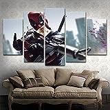 ZDDBD Cuadro Modular 5 Piezas película Deadpool póster TopRated Lienzo impresión Pintura Moderna Pared Arte Decorativo Sala de Estar