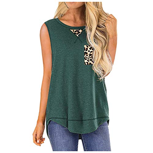 Tanktop dames Dasongff sportshirt mouwloos luipaard T-shirts bovenstuk blouse tuniek longshirt lang basic rugevrij onregelmatig oga gym lopen t-shirt tops XX-Large groen