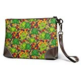 Carteras Women's Leather Wristlet Clutch Wallet Frogs Green Purse Phone Handbags Card For Travel Party Wedding Shopping