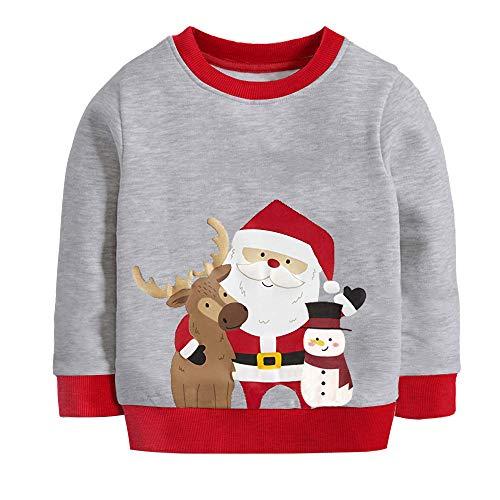 Little Hand Jungen Pullover Sweatshirt Kinder Warme Weihnachtspullover Weihnachtsmann Puli 2-7 Jahre (110, Weihnachtsmann-grau)