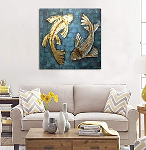 ZXJYH Tier Canvas Wall Art Bunte Zwei Goldenen Fisch Handgemalte Ölgemälde Moderne Für Wohnzimmer Schlafzimmer Büro Badezimmer Fertig Zum Aufhängen An Der Wand Deko Esstisch Keine Gerahmten-40×40Inch