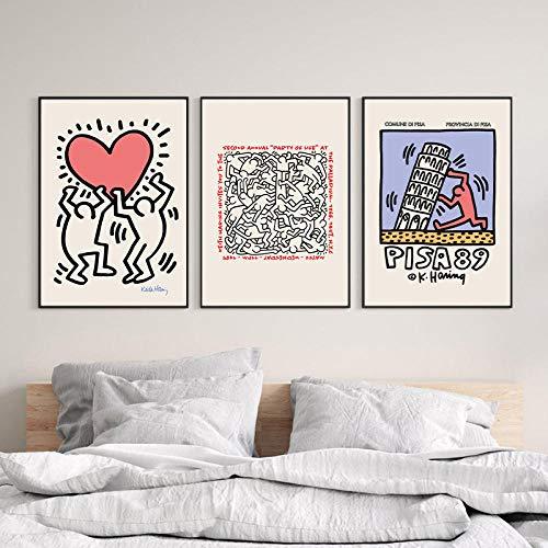 RTAGBFND Arte de la pared Exposición Póster Pisa Corazón Impresiones abstractas Ciudad de Nueva York Vintage Pop Lienzo Pintura Galería Imágenes de pared Decoración-40x60cmx3 sin marco