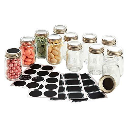 Hayley Cherie - 2.5 oz Mini Glass Mason Jars (Set of 12) with Chalkboard Labels