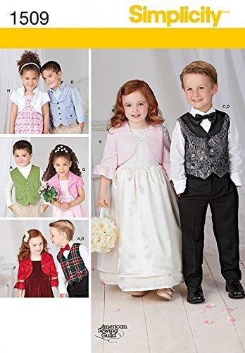 Simplicity Sewing Pattern 1509 Boys Girls Vest Bolero Bow tie Size 3-4-5-6-7-8