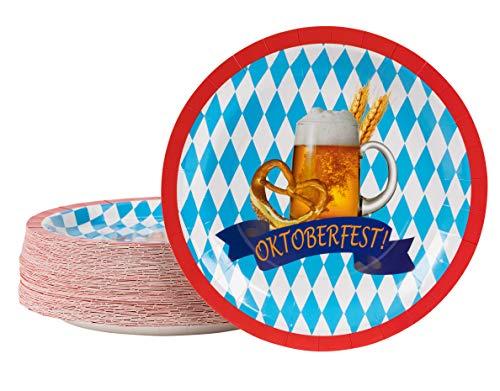 Disposable Plates - 80-Count Paper Plates, Oktoberfest Party Supplies for Appetizer, Lunch, Dinner, Dessert, Beer Barley Pretzel and Oktoberfest Banner Design, 9 Inches Diameter