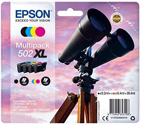 Epson Multipack 502XL Druckertinte in 4 Farben 4 / Tintenpatronen (Original, Pigmenttinte, Schwarz, Cyan, Magenta, Gelb, Epson, 4 Stück, Tintenstrahldrucker)