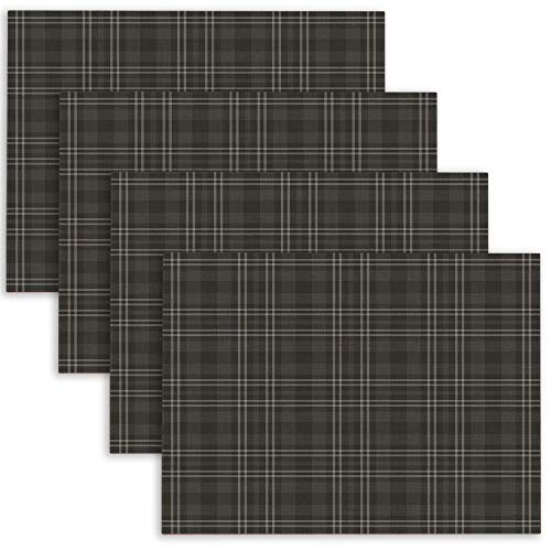 Douecish Linen Placemats,Washable,Heat-Resistant Black Amp Grey Plaid Table Placemats for Kitchen,Dining Table,Dining Room,18X12,Set of 4