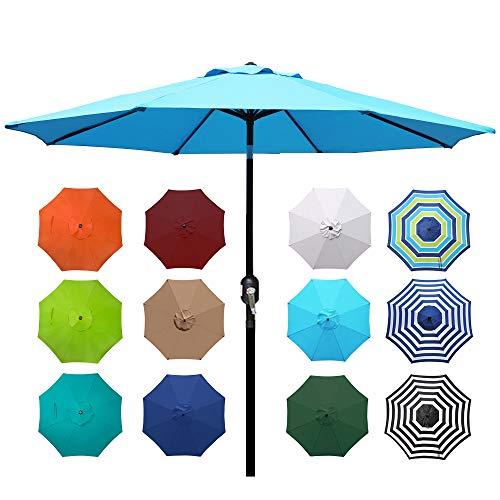 Blissun 9' Outdoor Aluminum Patio Umbrella, Market Striped Umbrella with Push Button Tilt and Crank (Light Blue)