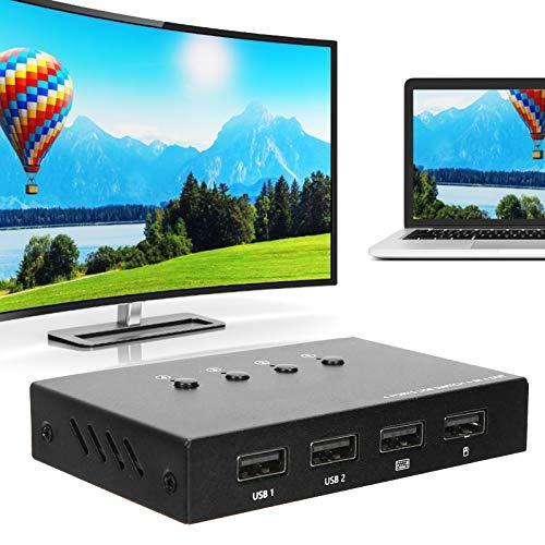 Zwinner Compartidor de impresión USB, Teclado y Mouse Plug and Play Selector de Interruptor USB, 4 importaciones 4 exportaciones para computadoras USB 2.0 Conexión con un botón Smart TV