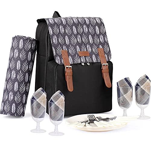 Isolierte Picknick-Rucksacktasche mit großer Kapazität für 4 Personen mit Kühlfach, wasserdichter Decke, Tellern und Besteckset Perfekt für Outdoor, Sport, Wandern, Camping, Grillen (schwarz)