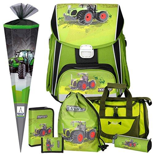 Spirit Green Tractor Power - Traktor - 3D-Leicht-Schulranzen-Set 7teilig mit Sporttasche und SCHULTÜTE boi