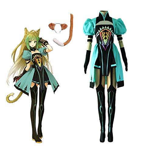 Disfraz de anime Archer Atalanta, incluye: parte superior, falda, calcetines, 4 brazaletes, orejas, cola, peluca y red de pelo M