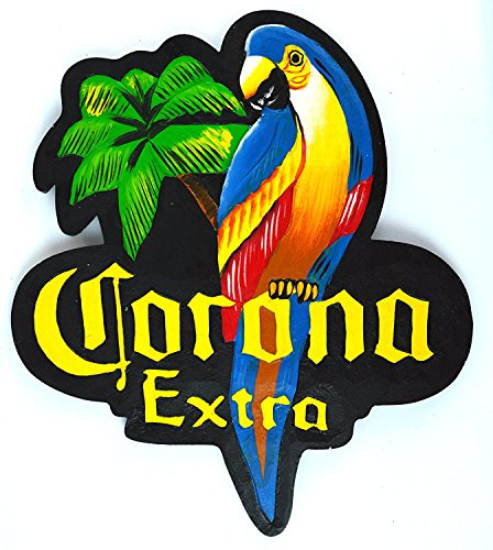 Price comparison product image WorldBazzar Hand Carved Corona Extra Parrot Beer Wooden Wall Hanging Art Sign Tiki Bar