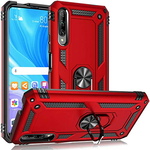 Fetrim Hülle Kompatibel für Honor 9X PRO, doppellagig stoßfest Schutzhülle mit Drehring Ständer für Huawei P Smart Pro 2019/Honor 9X Pro rot