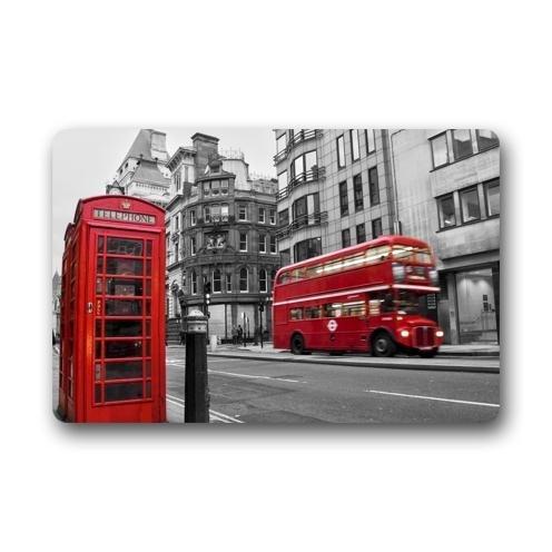 Bag shrots - Felpudos Personalizados de Londres con diseño de Bota telefónica y autobús Rojo, Resistentes, para Interiores y Exteriores, 60 x 40 cm