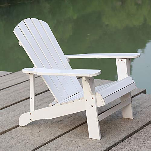 Extra Wide Adirondack Hardwood Chair with White Oiled Finish, for Outdoor Garden Lawn, Beach Pool, Deck - Max Load 150kg (Color : White)