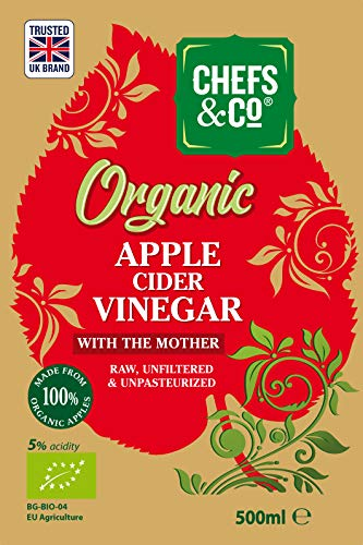 CHEFS & CO Vinagre orgánico de sidra de manzana | con Madre del Vinagre | botella de vidrio | Crudo Puro ACV | Sin Refinar | Sin Filtrar | 5{0a468ea88156d07e169a4be0123e429c6c9cb2bf973d4a74bb14560381019745} de acidez (500ml Vinagre de sidra de manzana)