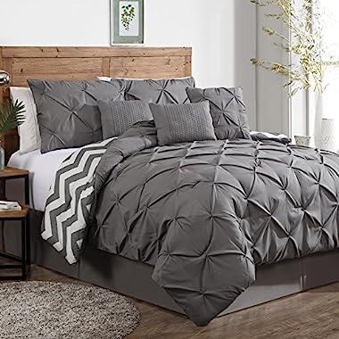 Avondale Manor 7-Piece Ella Pinch Pleat Comforter Set, Queen, Grey