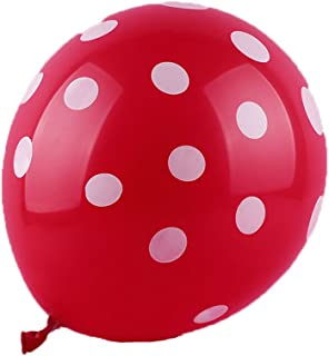 50 Ct 12 Inch Balloons Polka Dot Assorted Color 12 Inch Helium Quality Latex Inflatable for Festival Party Decoration Happy Birthday Home Decor Air Balls (15 Colors for Choice) (Red)