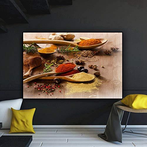 bajbajbaj1 Granos de Chile Varias Especias de Colores Cuchara Cocina Lienzo Pintura Cuadros Carteles e Impresiones Arte de la Pared Imagen de Comida Sala de Estar Sin Marco