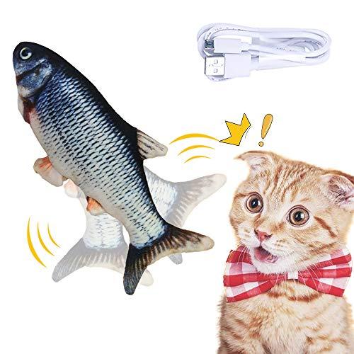 wenyujh Katzenspielzeug Elektrische Fische, Katzenspielzeug mit Katzenminze, Simulation Elektrisch Spielzeug Fisch mit USB Charge, Kauen Spielzeug für Katze zu Spielen, Beißen, Kauen