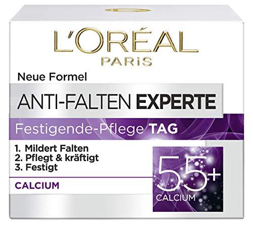 L\'Oréal Paris Anti-Falten Experte Tagescreme 55+, Anti-Age Feuchtigkeitspflege mit Calcium, mildert tiefere Falten, die Haut wird gefestigt und 24H mit Feuchtigkeit versorgt, 50ml