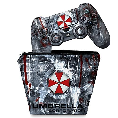 Capa Case e Skin Adesivo PS4 Controle - Resident Evil Umbrella