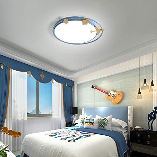 Luz de techo LED de montaje empotrado, Nordic Eye Care Lámpara de acrílico para habitaciones de niños Lámpara redonda de aeroplano de dibujos animados Lámpara colgante para sala de estar Dormi