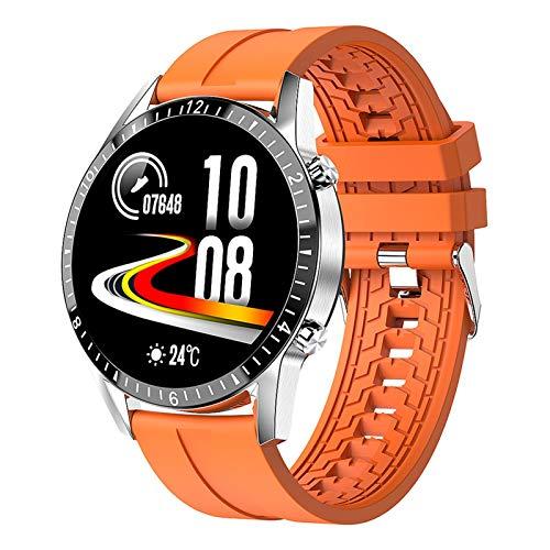 XXY Nueva Llamada Bluetooth Smart Watch Hombres Mujeres Deportes Fitness SmartWatch Tarifa Cardíaca Presión Arterial Monitoreo De Salud para Android iOS (Color : Orange Silicone)