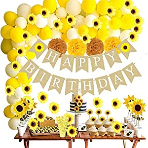 Funnlot 99PCS Sunflower Birthday Decorations Sunflower Party Supplies with Sunflower Happy Birthday Banner Sunflowers Artificial Flowers Sunflowers Cupcake Toppers Balloon Garland Kit Straws Pom Poms