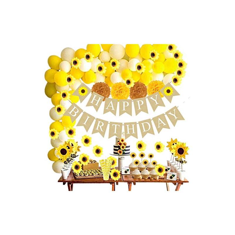 silk flower arrangements funnlot 99pcs sunflower birthday decorations sunflower party supplies with sunflower happy birthday banner sunflowers artificial flowers sunflowers cupcake toppers balloon garland kit straws pom poms