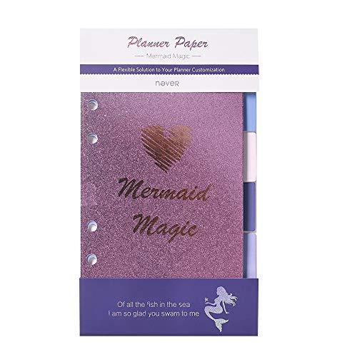A6 Binder Dividers Purple Mermaid Index Dividers with Tabs Cute Loose-Leaf Separators 6 Multicoloured Tabs (Mermaid Magic)