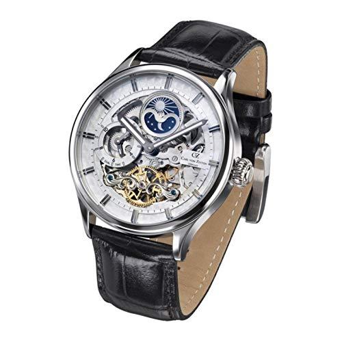 Carl von Zeyten Herren Skeleton Automatik Uhr mit Leder Armband CVZ0008WH