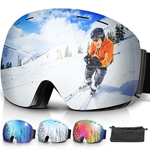 amzdeal Gafas de Esquí, Gafas Esquí Snowboard Doble Capa Anti Niebla 100{de361c1fcb930cc533f847905ed9a1cdb8291b004b33d4a6a094d60c7f2866fd} Protección UV Desmontables Lentes con Correa Antideslizante OTG Gafas de Esquiar para Adultos Hombre Mujer Juventud