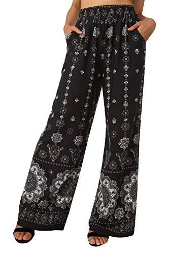 BAISHENGGT Pantaloni da yoga da donna con stampa rayon Nero floreale #2. M