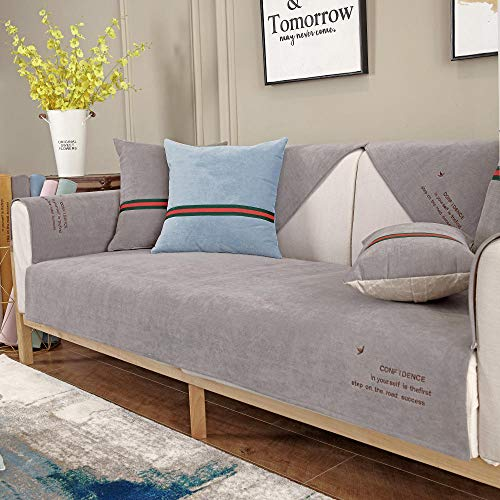 Suuki settee slip covers,sofa cover,couch saver,Universal pet couch covers,cat dog waterproof urine-proof sofa saver,anti-skid Couch Slipcover,wear-resistant anti-bite Sofa Throw-grey_110*210cm